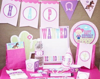 Cowgirl Birthday Party Decorations Printable - cowgirl birthday party supplies - cowgirl party decorations - western birthday party