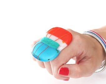 Fashion Ring, Cocktail Ring Fused Glass Jewelry -  large ring, oversize ring, statement ring, boho ring, handmade ring, vintage thread