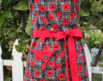 Full Apron, Red Poppy Fabric, Red and Gray Apron, Women's Apron, Vintage Style Apron, Retro Apron, GladstoneCottage