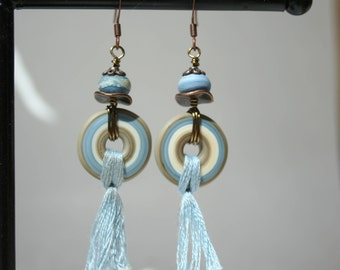 Handmade lampwork Disc earrings in denim blue and cream