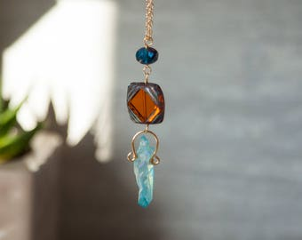 Blue Crystal Necklace Angel Aura Necklaces Boho Crystal Necklace Raw Crystal Jewelry Raw Crystal Necklace Blue Quartz Necklace Blue Crystal