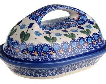 BCV Polish Pottery Hand Painted Stoneware, Ceramic Butter Dish with lid 331-U-006