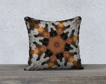 Orange Brown Square Pillow Case 18 x 18