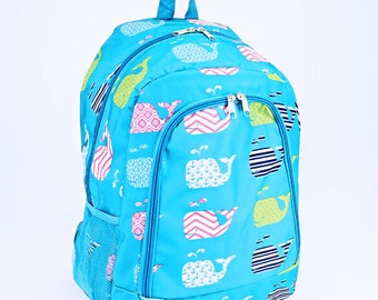 Blue Whale Monogram Backpack | Monogram Book Bag |  Book Carrier | Campus Must Have | Back to School | Birthday Gift | Whale Book Bag