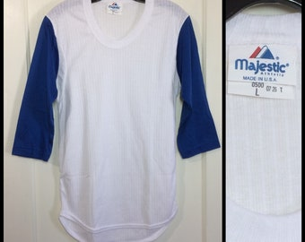 1970's deadstock baseball jersey style t-shirt size large, looks XS 16x29 white blue ribbed 2 tone mesh NOS made in USA