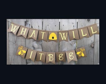 What Will It Bee Gender Reveal Banner | Baby Banner | Baby Shower Banner | Gender Reveal Banner