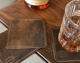 Leather Coasters Set / Drink Coasters / Leather Gifts / Square Coasters / Distressed Brown Leather / Housewarming Gift / Barware