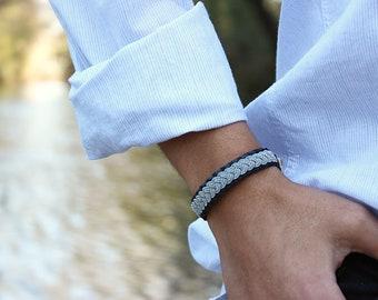 Grey salmon leather bracelet with silver braid, bracelet woman, man and original