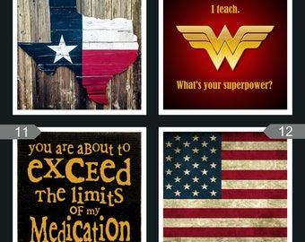 Ceramic Photo Coasters, Texas, USA, Flag, Teacher coaster, humor
