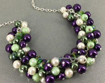 Dark Purple and Green Necklace Pearl Necklace Bridesmaids Gift Cluster Necklace Chunky Necklace Bridal Necklace Mother of Bride