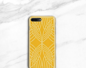 Goldenrod Yellow iPhone 8, Plus Case Boho Dot Pattern iPhone 7, Plus Case Spots iPhone SE, iPhone 6S Plus Phone Case Boho Style, Samsung
