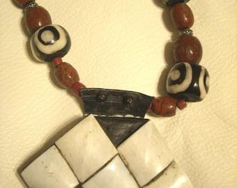 VINTAGE Shell Leather TUAREG KHOMESSA Pendant/Necklace - Mali West Africa