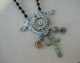 Religious Assemblage, Necklace, Medals, Crucifix, Repurposed Jewelry, Recycled, Upcycled, Vintage Assemblage, Rhinestones, Rosary  /112