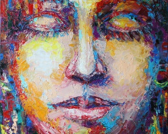 """ORIGINAL oil painting on canvas Oil on Canvas """"The power of thought"""" 24"""" х 20""""  modern art impressionism gift Portrait"""