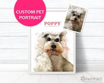 Dog Memorial Portrait - Custom pet portrait pet loss gifts, Dog memorial pet loss portrait, Custom dog gift, pet memorial gift pet painting