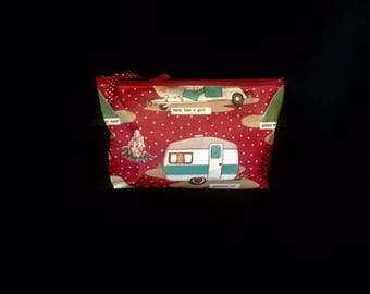 Vintage Trailer Glamping Print Cosmetic Bag