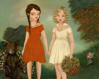 Snow White & Rose Red Print 8x10 - Children's Art, Girls Room Art, Nursery Art, Girl Art Print, Fairy Tale Art, Poster, Nursery Decor, Cute