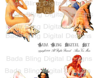 Mermaid Condos and Cottages,  mermaid collage sheet,  INSTANT DOWNLOAD at Checkout,mermaids, mermaid atcs,paperdolls