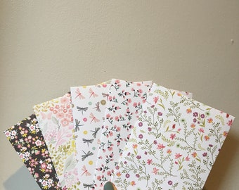 "Floral Summery Double Sided Handmade 5"" by 7"" Sized Envelopes 