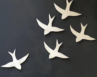 Large size white Porcelain wall art Swallows over Morocco Bird wall sculpture Ceramic art for bathroom bedroom living room