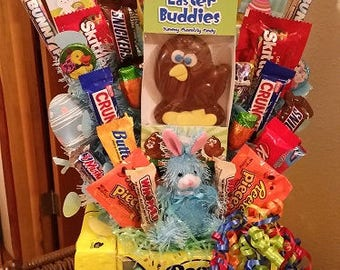 Blue Bunny Peeps Happy Easter Candy Bouquet Easter Candy