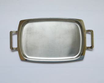 Mid Century Old Hall Stainless Steel Serving Tray