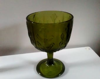 Green Textured Glass Compote Serving Dish with Pedestal and Maple Leaf Design, FTD, Green Glass Compote