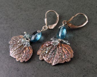 Coleus leaf earrings with London blue topaz and moss aquamarine, handmade recycled silver leaf earrings-OOAK December birthstone