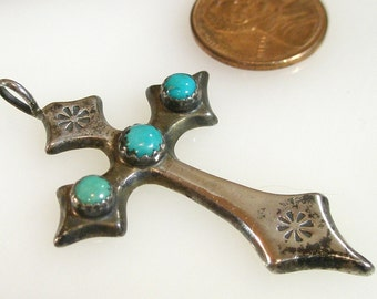 Navajo Sterling and Turquoise Cross Pendant Signed JP
