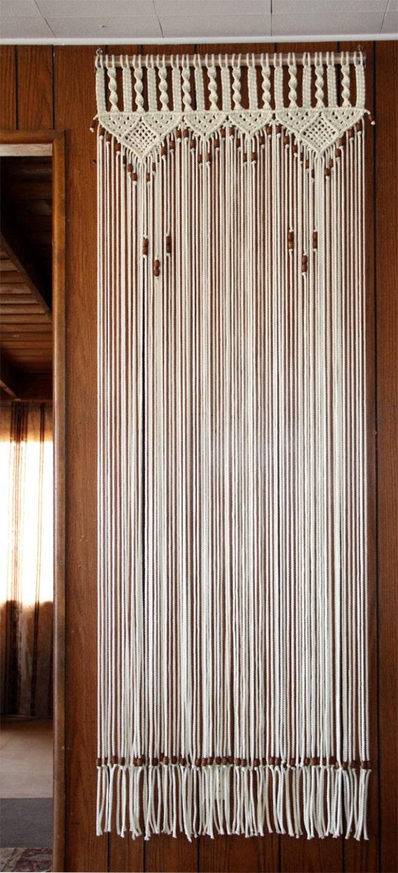 & Bead Fringed Door Curtain Macrame For a Door With Tie-Backs