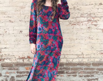 70's Floral Printed Velvet Maxi Dress, Made In India by Dagina S/M
