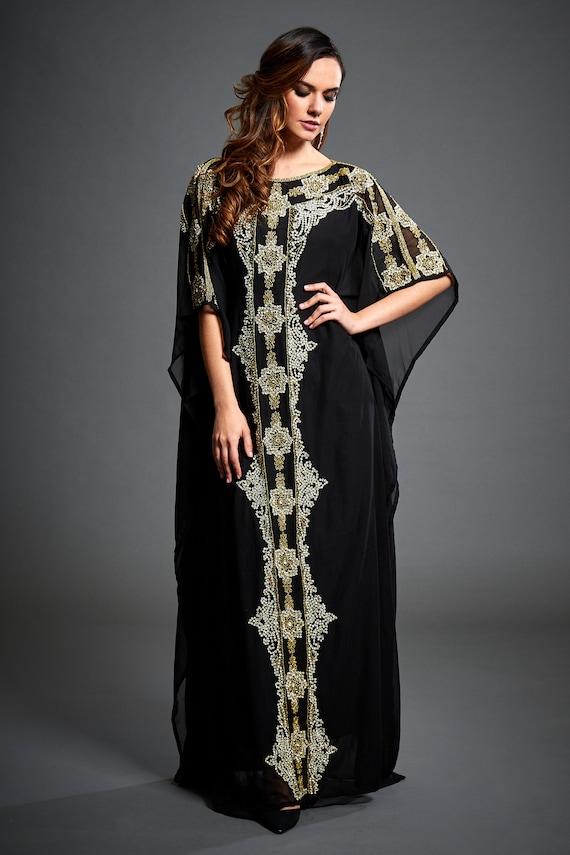 Caftan Kaftan Evening Kaftan Arabic Abaya Black Aliya Gold Handmade Dress Plus S 4XL Kaftan Size Maxi Embellished Gown EPnq7wB
