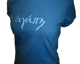 LOVE in Greek Organic Cotton and Organic Bamboo Women's Shirt in Blue - Tshirt Size S, M, L, XL - Christian Womens Shirt