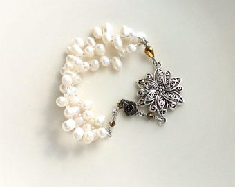 beaded pearl  cuff bracelet / wire wrapped jewelry/ romantic white pearls with gold swarovski