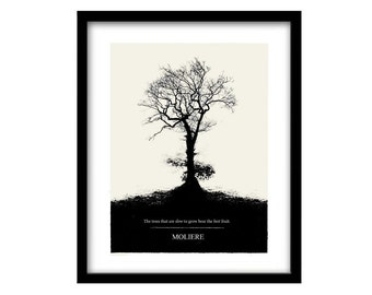 Moliere, tree print, Literary Art Print, Quote Minimalist Poster, Large Wall Art Print Illustration, Literary Gift for Her, Book Lover Gift