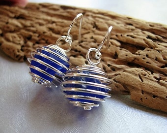 Genuine Sea Glass Earrings -Caged Sea Glass Earrings - Cobalt Blue Beach Glass Earrings- Dangle Earrings-Sea Glass from Prince Edward Island