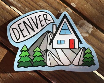 Denver Cabin - UV-resistant waterproof vinyl diecut decal sticker by Sara Schalliol-Hodge