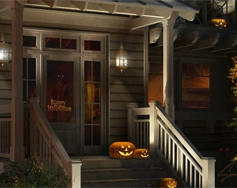 Pumpkins on the Porch - ACEO Halloween Art holiday