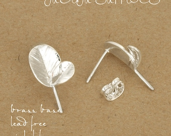 20pcs Silver plating leafage blank earring