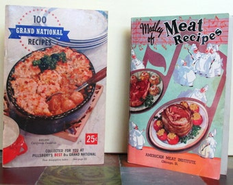"Vintage Cookbooks:  ""Medley of Meat Recipes"", 1938 & ""100 Grand National Recipes"", 1957"