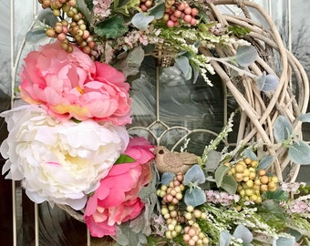 Spring Twig Wreath with Peonies and Burlap Bird, Birch Wreath, Small Wreath, Spring Wreath, Summer Wreath, Pink Wreath