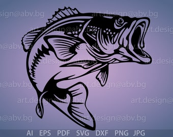 Vector FISH, Largemouth Bass, AI, eps, pdf, PNG, svg, dxf, jpg Image Graphic Digital Download Artwork, graphical, discount coupons