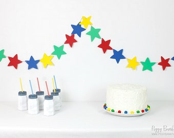 Cartoon Star Garland : Handcrafted Party Decoration | Nursery Decor | Home Decor | Primary Colors | Featured on Birthday Express