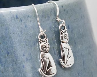 Cat Earrings, Silver Earrings, Cat Jewelry, Charm Earrings, Bridesmaid Gift, Gift for Her, Animal Earrings, Dangle Earrings, Antique Silver