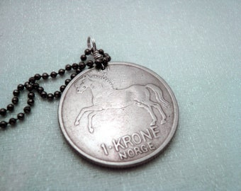 HORSE NECKLACE. Norway horse coin. Horse jewelry. Horse lover. Horse rider. Horse riding. Norwegian. Scandinavian. Coin jewelry