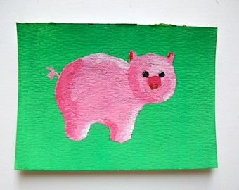 """This Little Piggy #88 (ARTIST TRADING CARDS) 2.5"""" x 3.5"""" by Mike Kraus"""