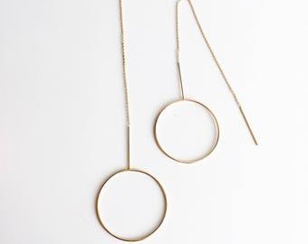 Oversized circle threader earrings