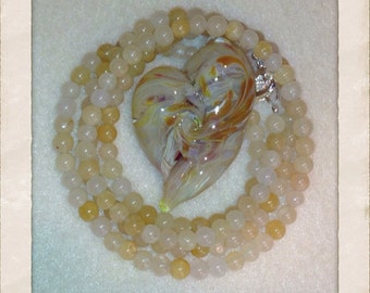 Cream Swirled Heart Necklace