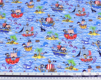 Kids Pirate Ships Blue 100% Cotton High Quality Fabric Material Sold by the Metre