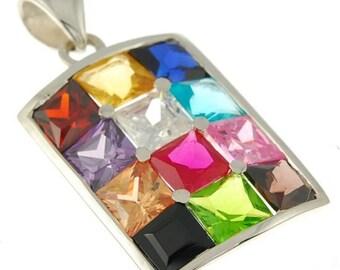 12 Hushen Gemstones Color Pendant Sterling Silver 925
